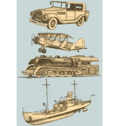 Retro transport set vector