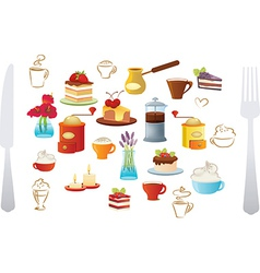 Set of coffee and cake vector image