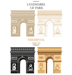 set of triumphal arch landmark of paris vector image vector image