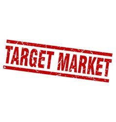 Square grunge red target market stamp vector