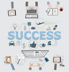 Success icons and meeting in office with vector