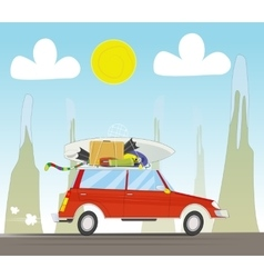 Vacation travel by car on sunset background vector image vector image