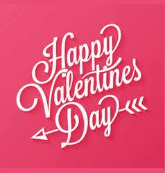 Valentines day vintage lettering on red background vector