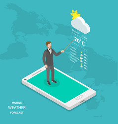 Weather forecast online flat isometric vector