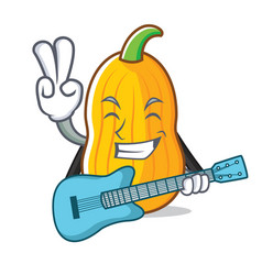 With guitar butternut squash mascot cartoon vector