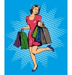 Woman with bags shopping in vector image vector image