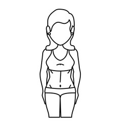 Woman with swimwear icon vector
