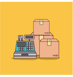 Yellow background with cash register and packages vector