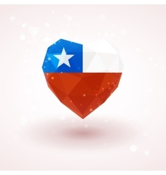Flag of chile in shape diamond glass heart vector