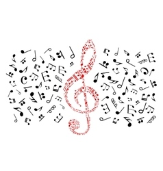 Music notes icons red treble clef vector