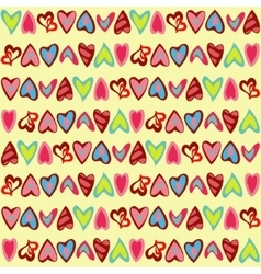 Pattern with cute colorful hearts vector