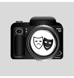 Digital photo camera theater masks vector