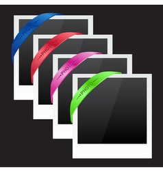 Three photo frames with corner ribbon vector