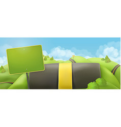 Road and sign 3d cartoon nature landscape vector image