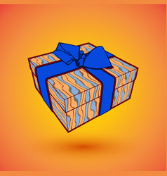 Gift box present with blue bow anrd ibbon eps10 vector