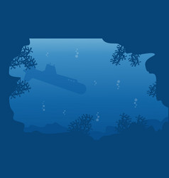 Submarine on underwater landscape silhouettes vector