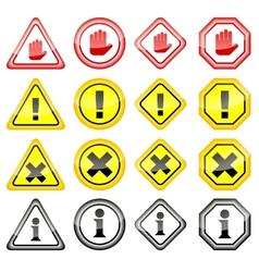 Warning danger icons vector