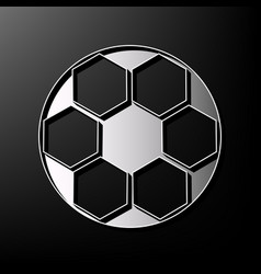 Soccer ball sign  gray 3d printed icon on vector