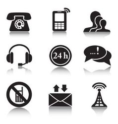 Contact black icons set vector
