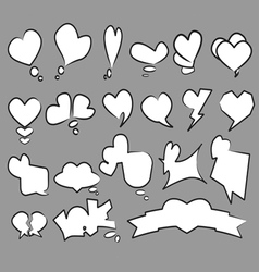 20 Heart text bubble set vector image
