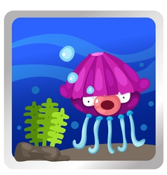 A jellyfish underwater background vector