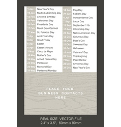 Pocket calendar with holidays list vector