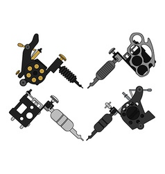 4 tattoo machines set vector