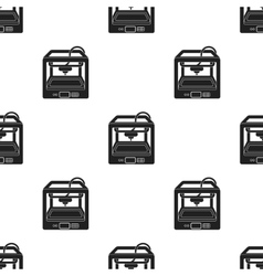 3d printer in black style isolated on white vector