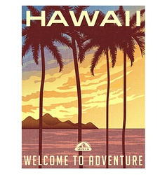 Retro style travel poster of Hawaii vector image