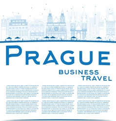 Outline prague skyline vector