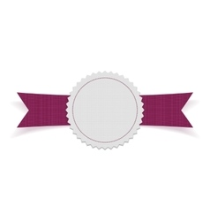 Sale blank label on purple ribbon vector