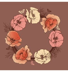 Flower round frame vector