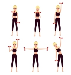 Beautiful girl doing complex of physical workouts vector