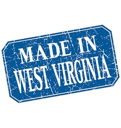 Made in west virginia blue square grunge stamp vector