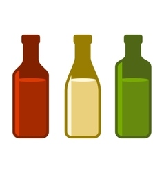 Colors wine bottles set on white background vector