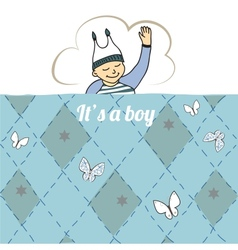 Baby shower card with little boy sleep vector image vector image