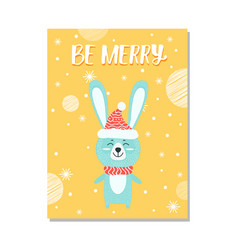 be merry image of rabbit on vector image vector image