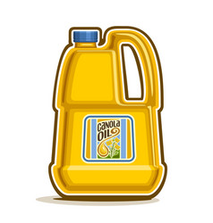Big yellow plastic bottle with canola oil vector