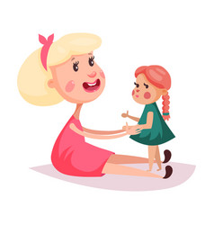Child near mother or smiling woman in skirt vector