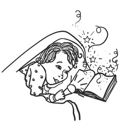 Child under the covers with a flashlight reading a vector