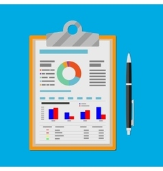 clipboard with financial reports and pen vector image vector image