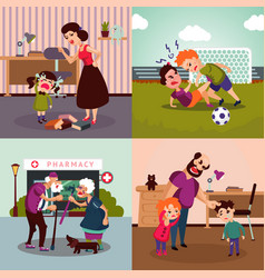 Colorful family violence concept vector