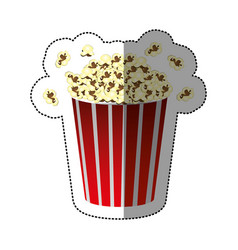 Colorful sticker of popcorn container vector