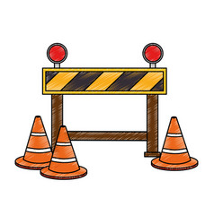 construction fence with cones vector image