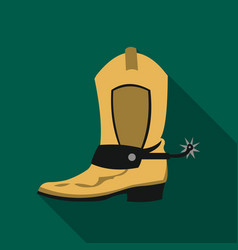 Cowboy boot icon flate singe western icon from vector