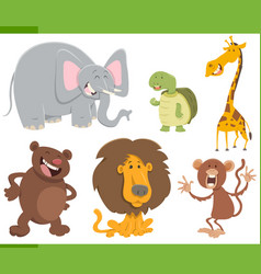 Cute animals cartoon set vector