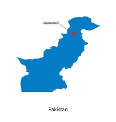 Detailed map of pakistan and capital city vector