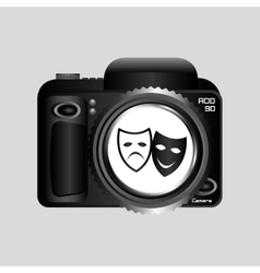 Digital photo camera theater masks vector