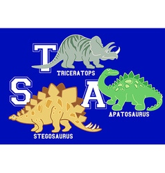 Dinosaurs letters triceratops apatosaurus and vector