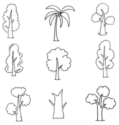 Doodle of various tree set vector